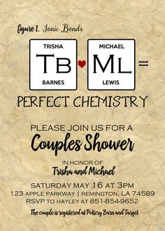 Perfect Chemistry Printable Bridal Shower Invitation - Geek, Nerd, DIY Bridal Shower, Couples Shower, Periodic Table Shower, Science Party by EventsYouCanPrint on Etsy