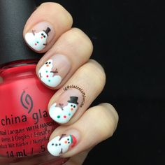 33 Easy and Eye-catching Christmas Nail Designs - Styles Art Nail Art Designs, Creative Nail Designs, Creative Nails, Cute Christmas Nails, Xmas Nails, Christmas Nail Designs, Christmas Snowman, Holiday Nail Art, Winter Nail Art
