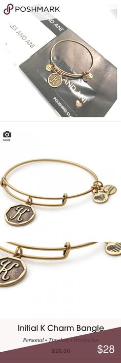 ALEX AND ANI Initial K Charm Brand new, never worn! Includes original packaging and polishing cloth! Alex And Ani Jewelry Bracelets