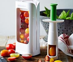 Take the hassle out of slicing grapes and tomatoes as you get yourself and your kitchen this OXO Tomato & Grape Cutter.