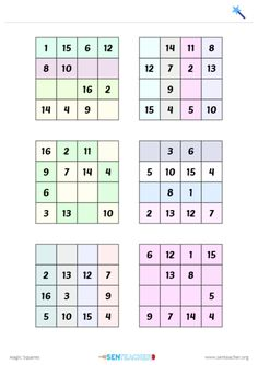 Generate partially completed magic squares Printable Worksheets, Printables, Sacred Geometry Symbols, Magic Squares, Geek Out, Math Resources, Mathematics, Alchemy, Maths