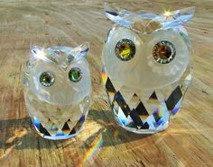 Mint Set 2 Signed Swarovski Crystal Large Medium Owls Figurines Woodland | eBay
