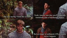 I love scenes like this because nobody-not the knights, not the nobility, not Arthur—nobody jokes or casually mentions magic but Merlin does and gets away with it! Merlin Quotes, Merlin Memes, Merlin Funny, Merlin Merlin, Watch Merlin, Sherlock Quotes, Bradley James, Merlin And Arthur, King Arthur