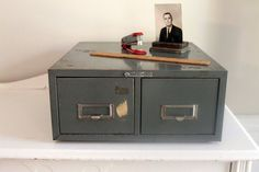 Vintage Metal 2 Drawer File Box