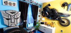 Motorcycle/Transformers bedroom for Juan, a young man living with cerebral   Duchenne Muscular Dystrophy.  See more pics at www.blissfulbedrooms.org; Photos by alexographer.com; Follow us on Facebook: http://www.facebook.com/BlissfulBedrooms?ref=hl