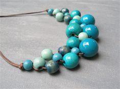 Blue Bib Wooden Bead Necklace