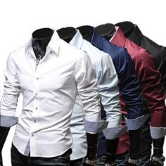 Spring Fashion Casual Slim Fit Long Sleeved Men's Dress Shirts