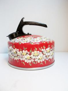 Red Tea Kettle Hand Painted Scandinavian Style by FolkArtByNancy