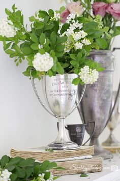 Night Blooming Jasmine & flowers in trophy cups - How To Combine French Farmhouse Style and Shabby Chic ~ Shabbyfufu.com