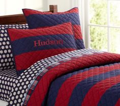Rugby Stripe Quilted Bedding-Bought for Brady's baseball room