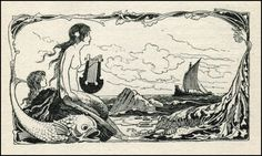 Known mostly for his faerie-world color work, Warwick Goble was also pretty adroit with pen and ink rendering. Warwick Goble — The Sea-Fair. Mermaid Illustration, Illustration Art, Vintage Illustrations, Warwick Goble, Tarot, Song Of The Sea, Mermaid Tale, Mermaid Lagoon, Unique Drawings