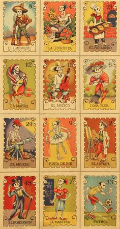 1 Yard Of FabricExquisite New Folklorico Inspired Day of the Dead Loteria Style Fabric. This fabric is composed of Cards with various Day of the
