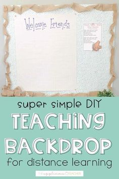 this is a great idea for a teaching backdrop while teaching via distance learning. Hang up behind you while you teach and then when you return to the classroom, you can bring the board with you! School Resources, Learning Resources, Teacher Resources, Teacher Blogs, New Teachers, Classroom Solutions, Classroom Setting, Classroom Decor, Classroom Bulletin Boards
