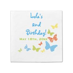 Butterfly Kisses Birthday Paper Napkin