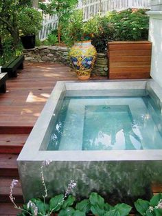 Fabulous Small Backyard Designs with Swimming Pool Inspiration deco outdoor: A mini pool for my Small Swimming Pools, Small Pools, Swimming Pool Designs, Small Backyards, Indoor Swimming, Small Backyard Design, Small Backyard Landscaping, Backyard Patio, Backyard Ideas