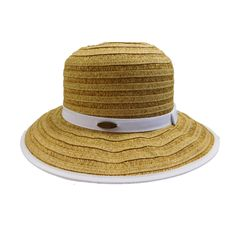 Down sloping, wide brim bound with ribbon. Matching ribbon band with small bow. One size. (runs larger, fits up to paper straw, polyester. Lego Design, Cloche Hat, Brim Hat, Summer Hats For Women, Cool Hats, Paper Straws, Fashion Boutique, Panama Hat, Ribbon