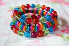 Jewelry Patterns, Beading Patterns, Handmade Crafts, Handmade Jewelry, Beaded Jewelry, Beaded Bracelets, Memory Wire Bracelets, Colorful Bracelets, Bead Earrings