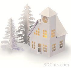 Silhouette Design Store: Tea Light Village Cottage And Barn Christmas Villages, Christmas Home, Christmas Crafts, 3d Paper Crafts, Paper Art, Paper Crafting, Cricut, 3d Cuts, Rena