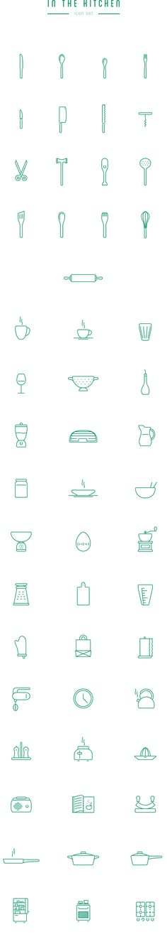 In The Kitchen – Free Icon Set by Wojciech Zasina, via Behance Sewing ideas Web Design, The Design Files, Icon Design, Typography Design, Branding Design, Logo Design, Icon Set, Puzzle Photo, Zentangle