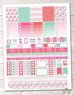 Floral Pink and Blue Printable Planner Stickers – Instant Download PDF for your Erin Condren Life Planner