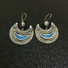 Gypsy Tribal Vintage Handmade Gillet Moon Earrings with blue