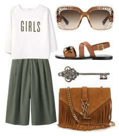 """""""GIRLS"""" by cherieaustin ❤ liked on Polyvore featuring Uniqlo, MANGO, Gucci, Marni and Yves Saint Laurent"""