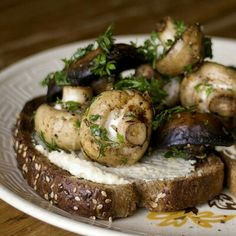 Bread + Mushrooms + cream cheese