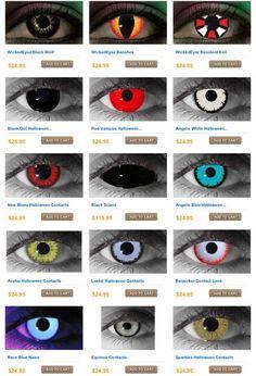 Creepy contact lenses for Halloween. Wickedeyez.com. Awesome!!!