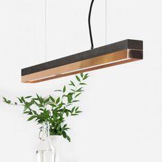 GANTlights C2 Light Concrete Pendant Dark - Copper (92cm)