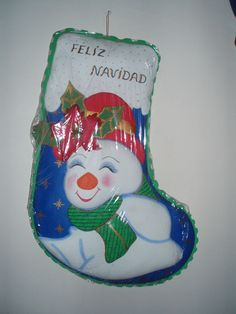 Bota navideña muñeco de nieve