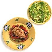 Chicken Provencale  For a naturally light main dish, these chicken breasts are served with an earthy vegetable stew. The meat is cooked in minimal oil and the vegetables are steamed in wine.