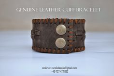 Vintage Genuine Leather Cuff Bracelet, in stoc now! Order at: cureledeceas@gmail.com, +40 737 472 022 Watch Model, Leather Cuffs, Hand Sewing, Cuff Bracelets, Handmade, Vintage, Jewelry, Sewing By Hand, Hand Made