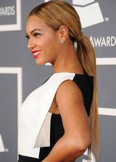 Top 100 Long Hairstyles 2014_08`Beyonce Long Hairstyle: Power ponytail   Pop diva Beyonce looks sophisticated and professional with her hair in a super-long ponytail. She wears her pony just above the nape of her neck, and wraps a strand of hair around the hair-tie for a polished look. Make sure you tame flyaway hairs for a sleek, sexy ponytail.