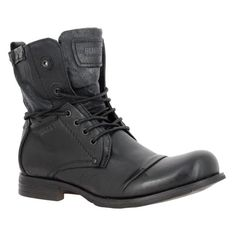 744f443878 Chaussures A Lacets BUNKER Tar Cuir Homme Carbone, Bunker 115€ Boots  Noires, Seconde