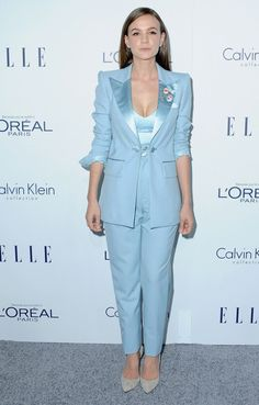 Carey Mulligan wears a Marc Jacobs pale blue peak lapel single-breasted tuxedo with chain closure from the S/S 16 collection.