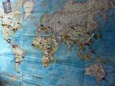 world map w pins