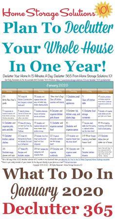 Januar 2020 Declutter 365 Kalender Kostenlos druckbar Januar 202 … - Home Storage Ideas Deep Cleaning Tips, Cleaning Checklist, House Cleaning Tips, Spring Cleaning, Cleaning Hacks, Cleaning Schedules, Cleaning Calendar, Cleaning Challenge, Cleaning Quotes