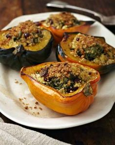 Stuffed Acorn Squash with Millet, Spinach, Cranberries and Hemp Seeds