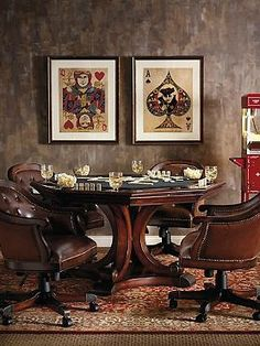 Host a game night your guests won't soon forget with the Edison Game Table and Set of Four Chairs; a handsome hand-carved pedestal base complete with cherry finish, brass detailing and supple leather atop the chairs.