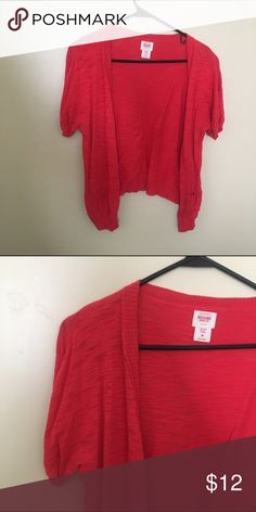 Medium red coral cardigan Medium red coral cardigan. Hits at Waist. From old navy. Great condition. Smoke free, pet free home. Mossimo Supply Co Sweaters Cardigans