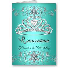 Folded Card Quinceanera Teal Glitter Tiara Photo invitations Birthday invitations by zizzago.com