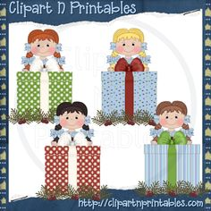 Chubby Elf Presents 2- #Clipart #ResellableClipart #Christmas #Presents #Gifts #Girls #SantaHats #Holly #Elf #Elves