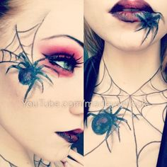 halloween make up Halloween Kostüm, Halloween Cosplay, Halloween Face Makeup, Spider Makeup, Spider Queen, Maquillaje Halloween, Theatrical Makeup, Special Effects Makeup, Crazy Makeup