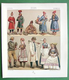 COSTUME of Sweden Finland Bride Wedding Couple - 1888 Color Antique Litho Print by A. Racinet