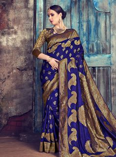 8b0fd1a2db921 Buy Blue Silk Saree With Blouse 144363 with blouse online at lowest price  from vast collection of sarees at Indianclothstore.com.