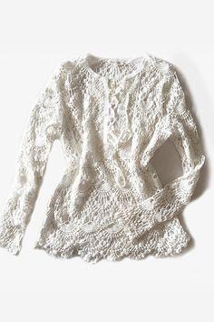 Tunique en crochet de coton blanc Amy Lou