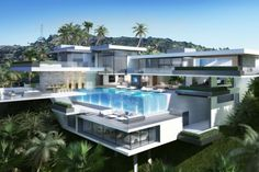 These two proposed modern mega mansions designed by Ameen Ayoub Design Studio will be built on Sunset Plaza Drive in Los Angeles, California, USA. Set on over two acres with Mega Mansions, Mansions Homes, Luxury Mansions, Mansion Designs, Modern Mansion, Modern House Design, Home Fashion, Exterior Design, Luxury Homes