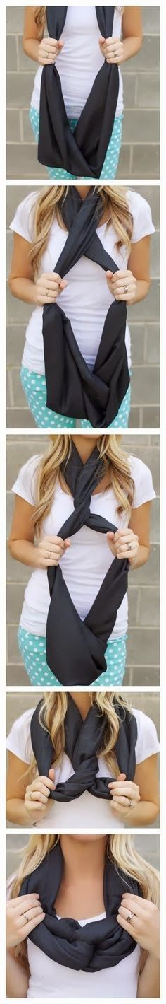 "Scarf ""knot"" with infinity or very long scarf"