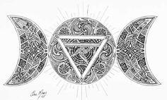 DeviantArt: More Like Pagan Art Tribe ID by Kayne by pagantribalart Goddess Symbols, Goddess Art, Wiccan, Witchcraft, Pagan Art, Triple Goddess, Sacred Geometry, Runes, Tattoo Ideas