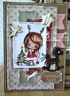 My card for the Ppinkydolls challenge - bling Copics, I Card, Christmas Cards, Challenges, Spirit, Dolls, Scrapbook Layouts, Frame, Card Ideas